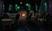 Inside the slytherin common room, sat next to an underwater window with distant siren singing